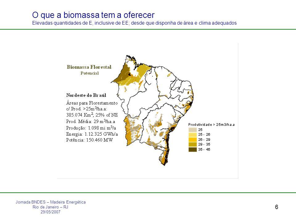 6 O que a biomassa tem a oferecer Elevadas quantidades de E, inclusive de EE; desde que disponha de área e clima adequados Jornada BNDES – Madeira Energética Rio de Janeiro – RJ 29/05/2007
