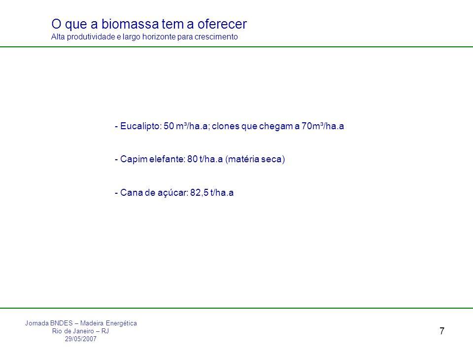 7 O que a biomassa tem a oferecer Alta produtividade e largo horizonte para crescimento - Eucalipto: 50 m³/ha.a; clones que chegam a 70m³/ha.a - Capim elefante: 80 t/ha.a (matéria seca) - Cana de açúcar: 82,5 t/ha.a Jornada BNDES – Madeira Energética Rio de Janeiro – RJ 29/05/2007