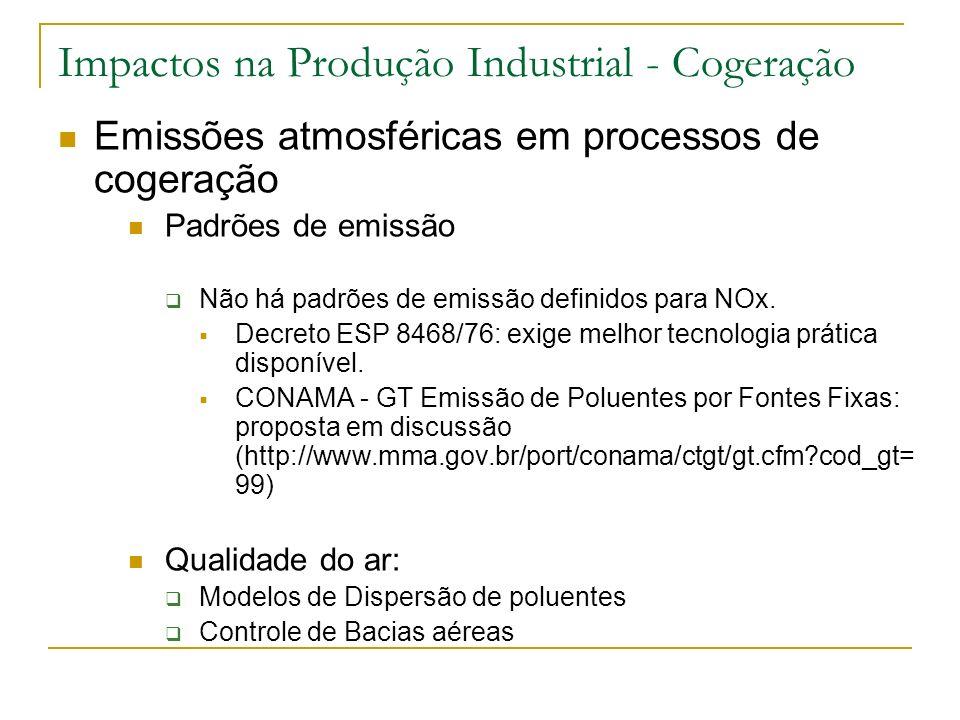 Impactos na Produção Industrial - Cogeração Emissões atmosféricas em processos de cogeração Padrões de emissão Não há padrões de emissão definidos par