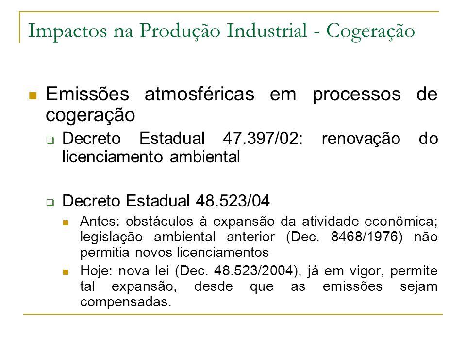 Impactos na Produção Industrial - Cogeração Emissões atmosféricas em processos de cogeração Decreto Estadual 47.397/02: renovação do licenciamento amb