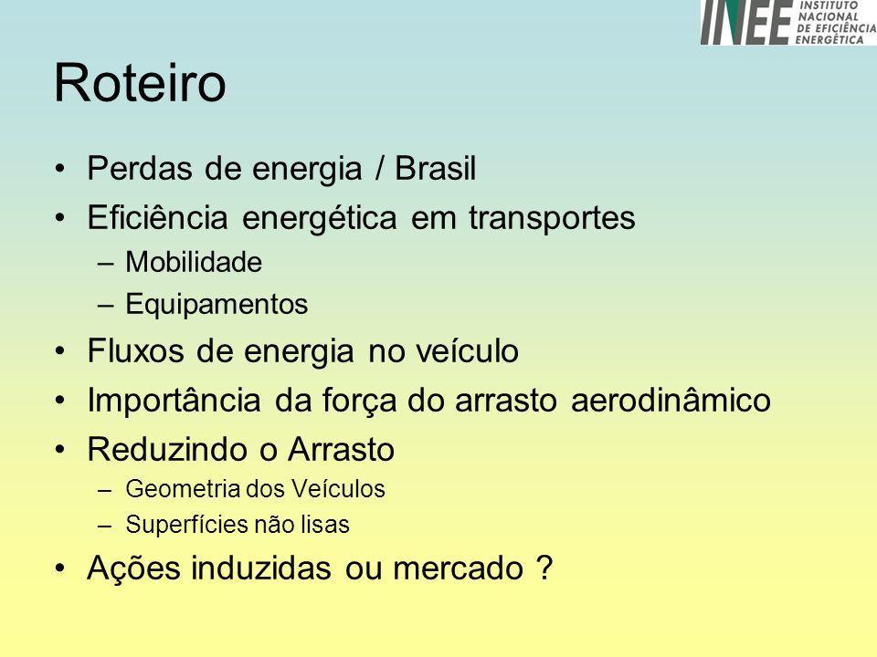 Roteiro Perdas de energia / Brasil Eficiência energética em transportes –Mobilidade –Equipamentos Fluxos de energia no veículo Importância da força do arrasto aerodinâmico Reduzindo o Arrasto –Geometria dos Veículos –Superfícies não lisas Ações induzidas ou mercado ?