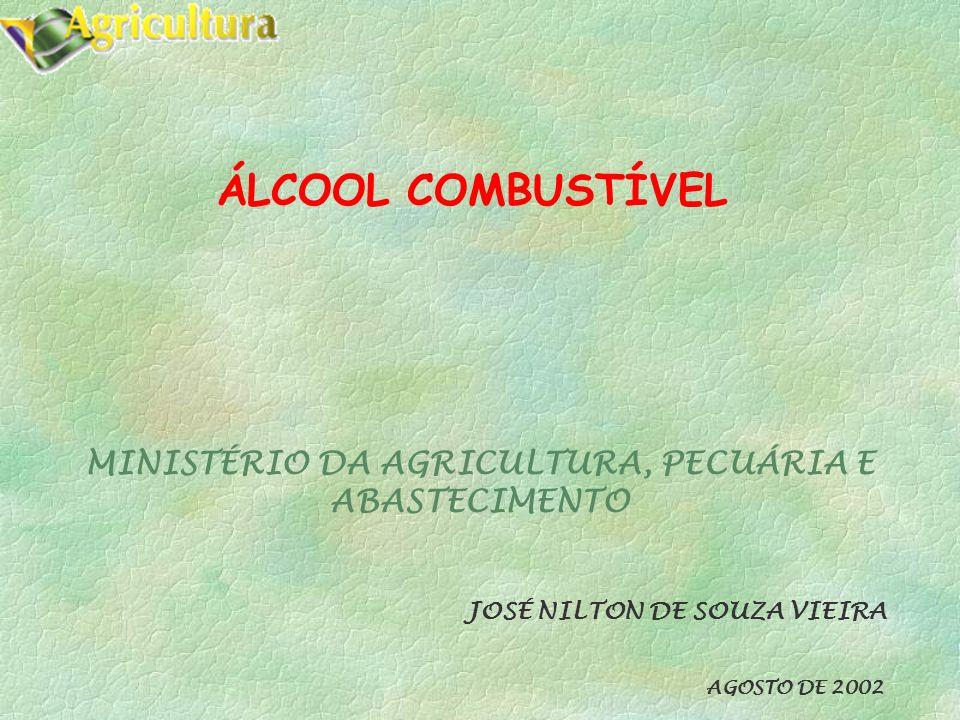 ÁLCOOL COMBUSTÍVEL MINISTÉRIO DA AGRICULTURA, PECUÁRIA E ABASTECIMENTO JOSÉ NILTON DE SOUZA VIEIRA AGOSTO DE 2002