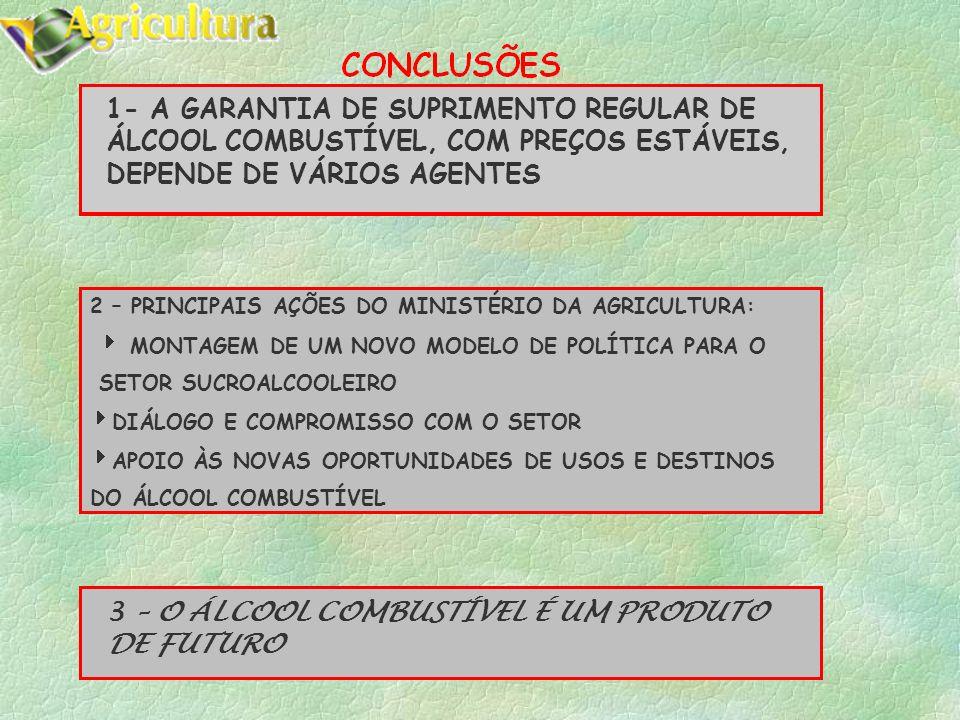 1- A GARANTIA DE SUPRIMENTO REGULAR DE ÁLCOOL COMBUSTÍVEL, COM PREÇOS ESTÁVEIS, DEPENDE DE VÁRIOS AGENTES 2 – PRINCIPAIS AÇÕES DO MINISTÉRIO DA AGRICULTURA: MONTAGEM DE UM NOVO MODELO DE POLÍTICA PARA O SETOR SUCROALCOOLEIRO DIÁLOGO E COMPROMISSO COM O SETOR APOIO ÀS NOVAS OPORTUNIDADES DE USOS E DESTINOS DO ÁLCOOL COMBUSTÍVEL 3 – O ÁLCOOL COMBUSTÍVEL É UM PRODUTO DE FUTURO
