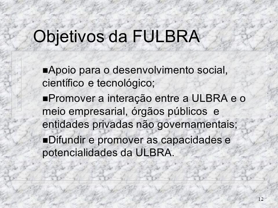 12 Objetivos da FULBRA n Apoio para o desenvolvimento social, científico e tecnológico; n Promover a interação entre a ULBRA e o meio empresarial, órg