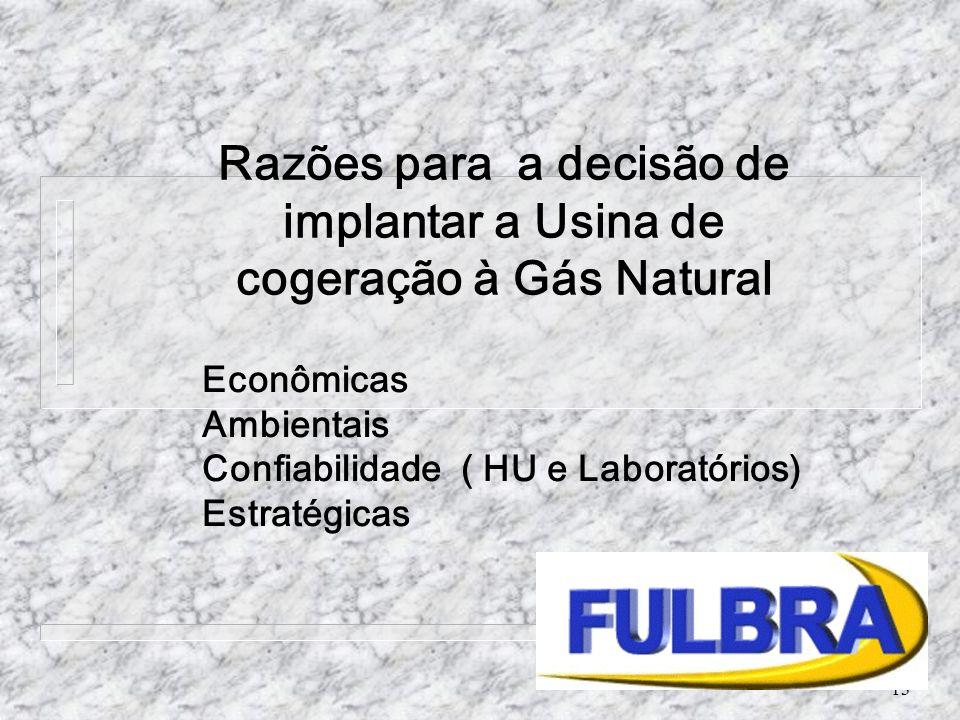 13 Econômicas Ambientais Confiabilidade ( HU e Laboratórios) Estratégicas Razões para a decisão de implantar a Usina de cogeração à Gás Natural