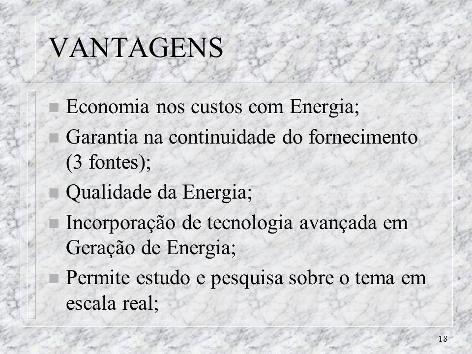 18 VANTAGENS n Economia nos custos com Energia; n Garantia na continuidade do fornecimento (3 fontes); n Qualidade da Energia; n Incorporação de tecno