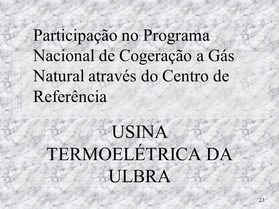 23 Participação no Programa Nacional de Cogeração a Gás Natural através do Centro de Referência USINA TERMOELÉTRICA DA ULBRA