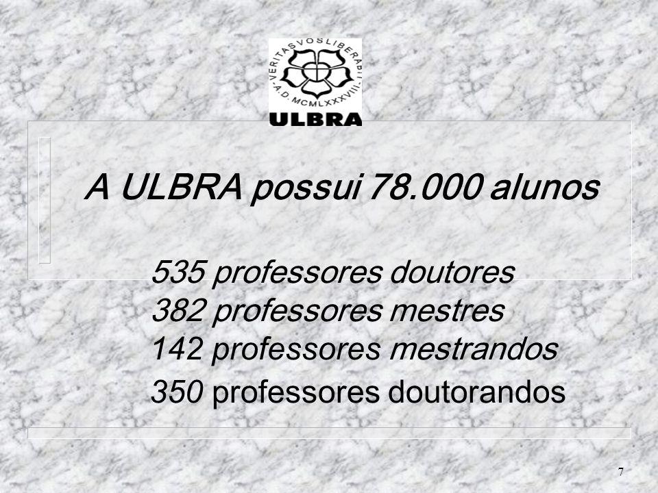 7 A ULBRA possui 78.000 alunos 535 professores doutores 382 professores mestres 142 professores mestrandos 350 professores doutorandos