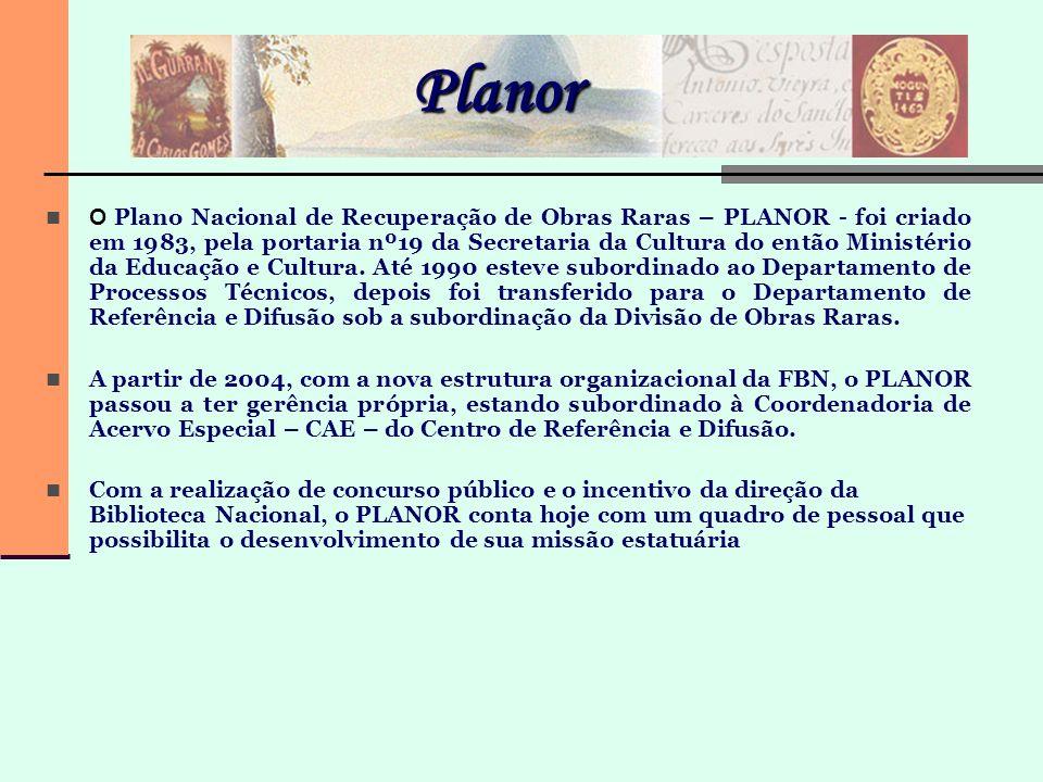 Planor O Plano Nacional de Recuperação de Obras Raras – PLANOR - foi criado em 1983, pela portaria nº19 da Secretaria da Cultura do então Ministério d