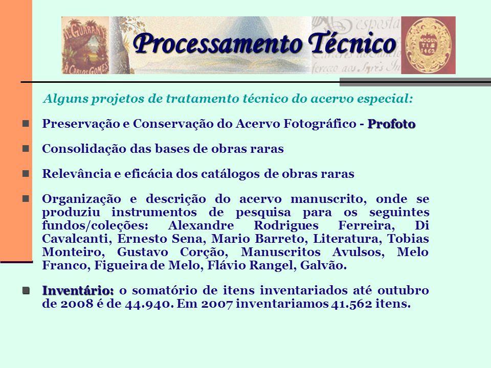 Processamento Técnico Alguns projetos de tratamento técnico do acervo especial: Profoto Preservação e Conservação do Acervo Fotográfico - Profoto Cons