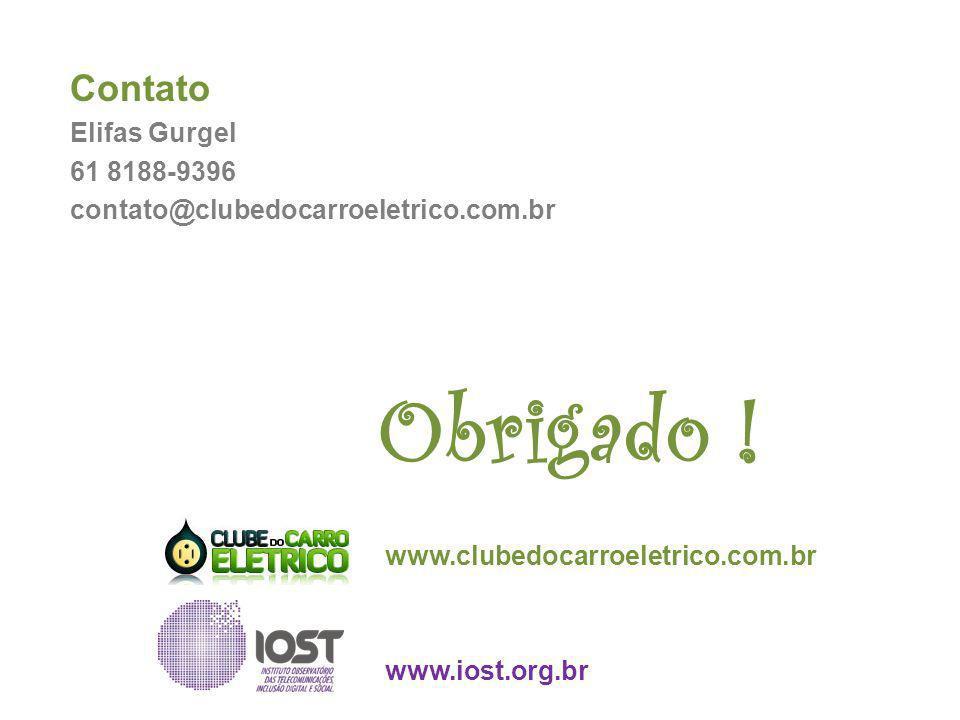 Obrigado ! www.clubedocarroeletrico.com.br www.iost.org.br Contato Elifas Gurgel 61 8188-9396 contato@clubedocarroeletrico.com.br