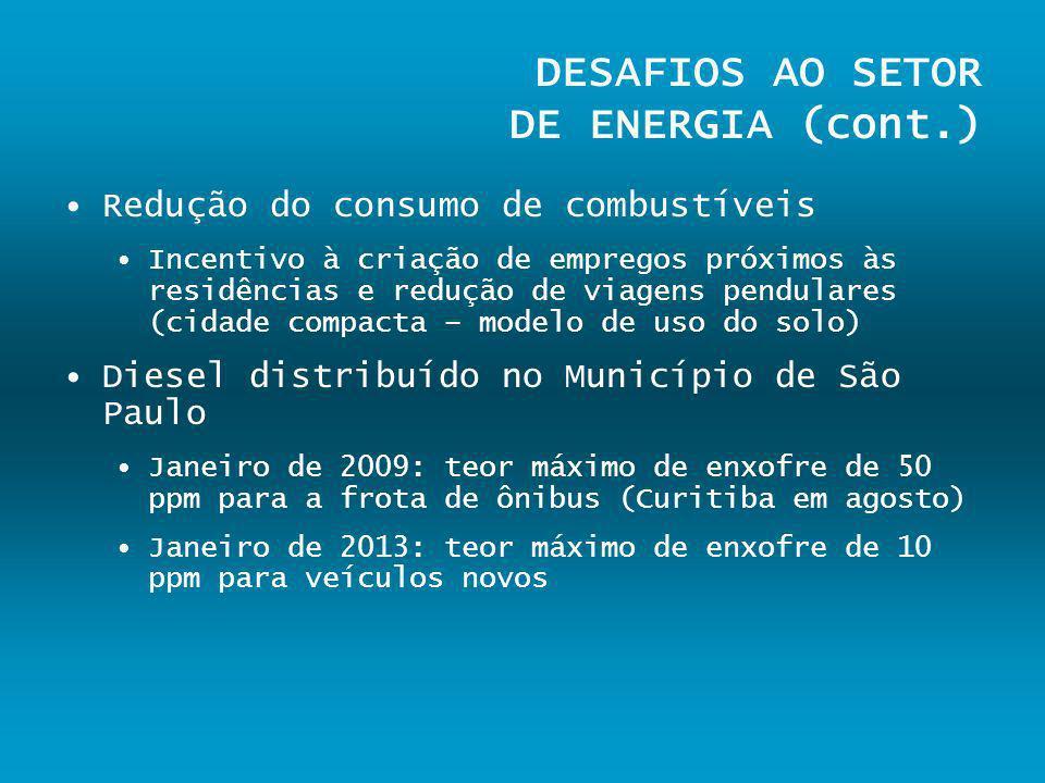 DESAFIOS AO SETOR DE ENERGIA (cont.) Redução do consumo de combustíveis Incentivo à criação de empregos próximos às residências e redução de viagens p