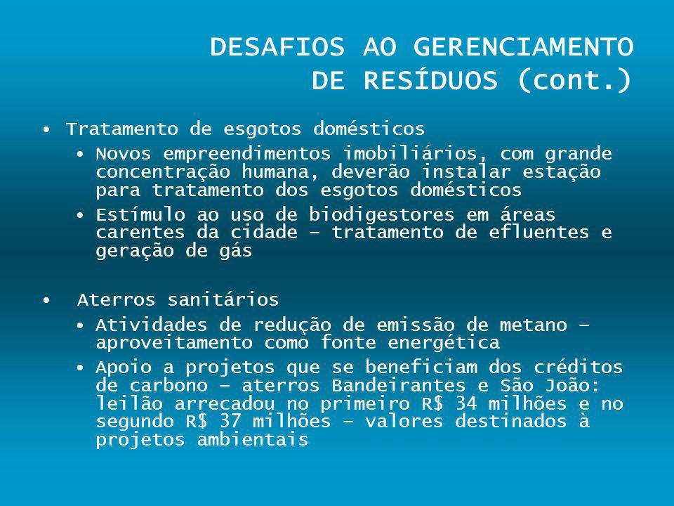 DESAFIOS AO GERENCIAMENTO DE RESÍDUOS (cont.) Tratamento de esgotos domésticos Novos empreendimentos imobiliários, com grande concentração humana, dev