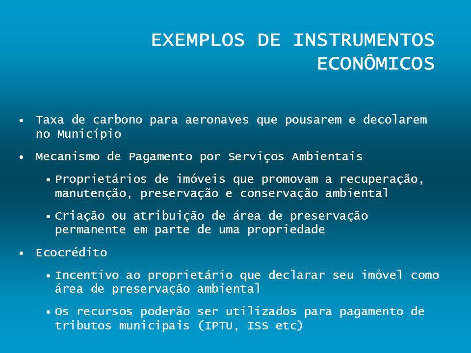 EXEMPLOS DE INSTRUMENTOS ECONÔMICOS Taxa de carbono para aeronaves que pousarem e decolarem no Município Mecanismo de Pagamento por Serviços Ambientai
