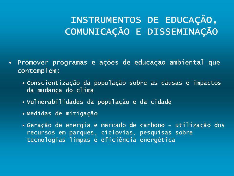 INSTRUMENTOS DE EDUCAÇÃO, COMUNICAÇÃO E DISSEMINAÇÃO Promover programas e ações de educação ambiental que contemplem: Conscientização da população sob