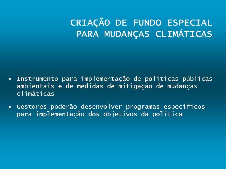 CRIAÇÃO DE FUNDO ESPECIAL PARA MUDANÇAS CLIMÁTICAS Instrumento para implementação de políticas públicas ambientais e de medidas de mitigação de mudanç
