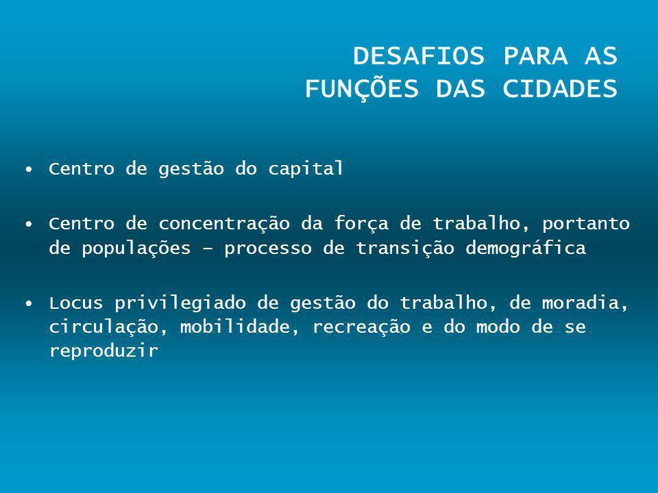 DESAFIOS PARA AS FUNÇÕES DAS CIDADES Centro de gestão do capital Centro de concentração da força de trabalho, portanto de populações – processo de tra