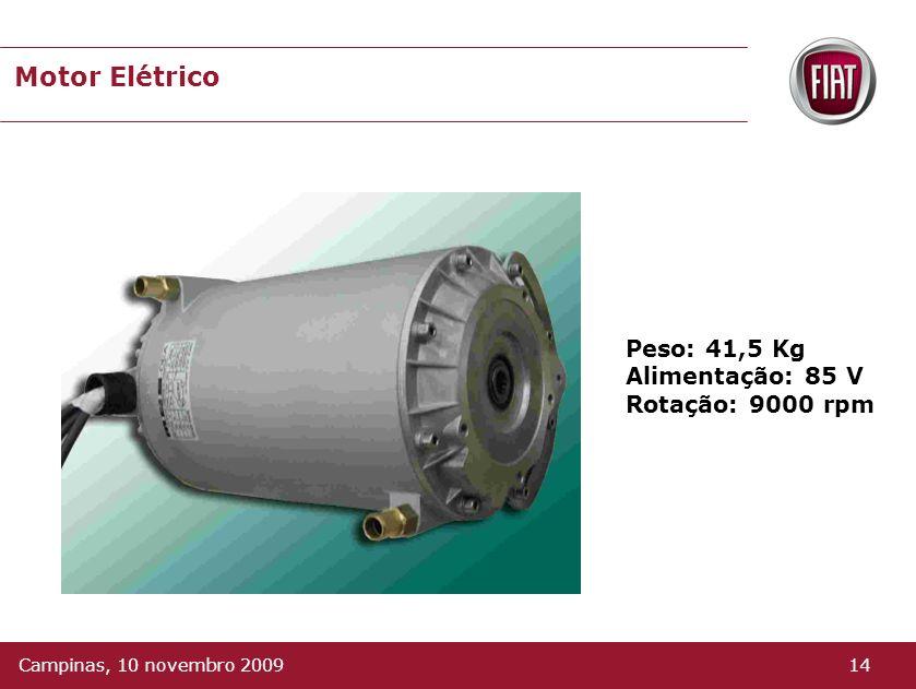 Motor Elétrico É refrigerado a água, o que permite uma redução de suas dimensões e peso. Tipo: Indução Potencia: 15 Kw ( 21,8 cv ) Torque: 50 N.m 13Ca
