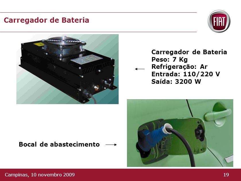 Carregador de Bateria Converte a energia da rede elétrica (alternada) para contínua. A bateria pode ser carregada em uma tomada elétrica de de 110V ou