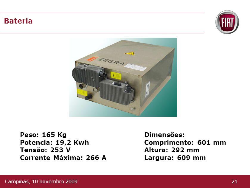 Bateria Principais componentes químicos são sais (cloreto de sódio e níquel). Possue alta densidade de energia e potência. Equipada com um sistema pró