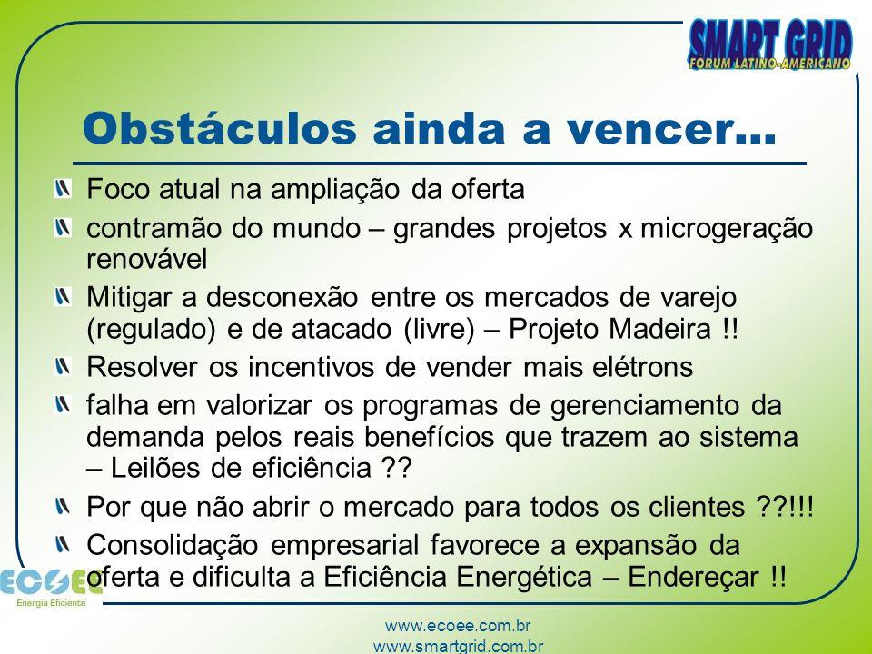 www.ecoee.com.br www.smartgrid.com.br Obstáculos ainda a vencer... Foco atual na ampliação da oferta contramão do mundo – grandes projetos x microgera