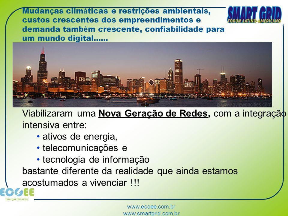 www.ecoee.com.br www.smartgrid.com.br Mudan ç as clim á ticas e restri ç ões ambientais, custos crescentes dos empreendimentos e demanda tamb é m cres