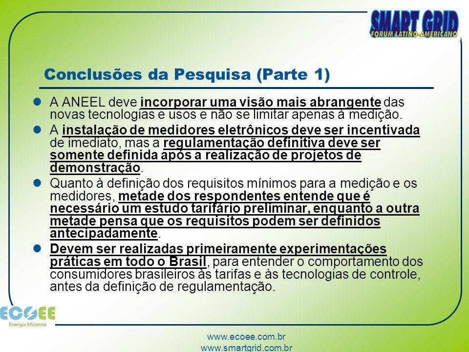 www.ecoee.com.br www.smartgrid.com.br Conclusões da Pesquisa (Parte 1) A ANEEL deve incorporar uma visão mais abrangente das novas tecnologias e usos