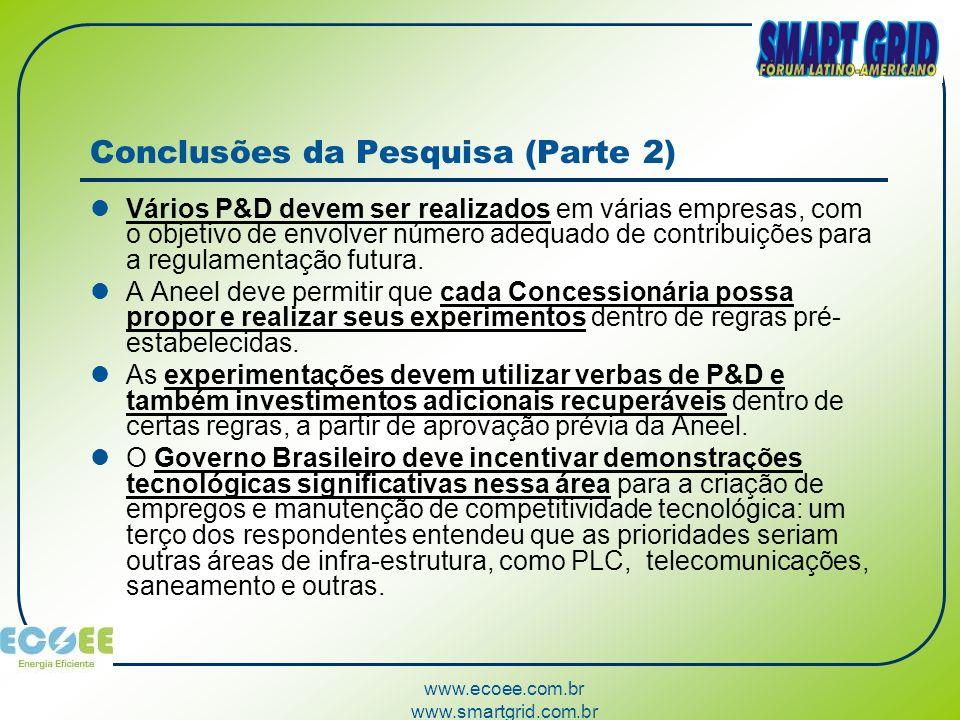www.ecoee.com.br www.smartgrid.com.br Conclusões da Pesquisa (Parte 2) Vários P&D devem ser realizados em várias empresas, com o objetivo de envolver