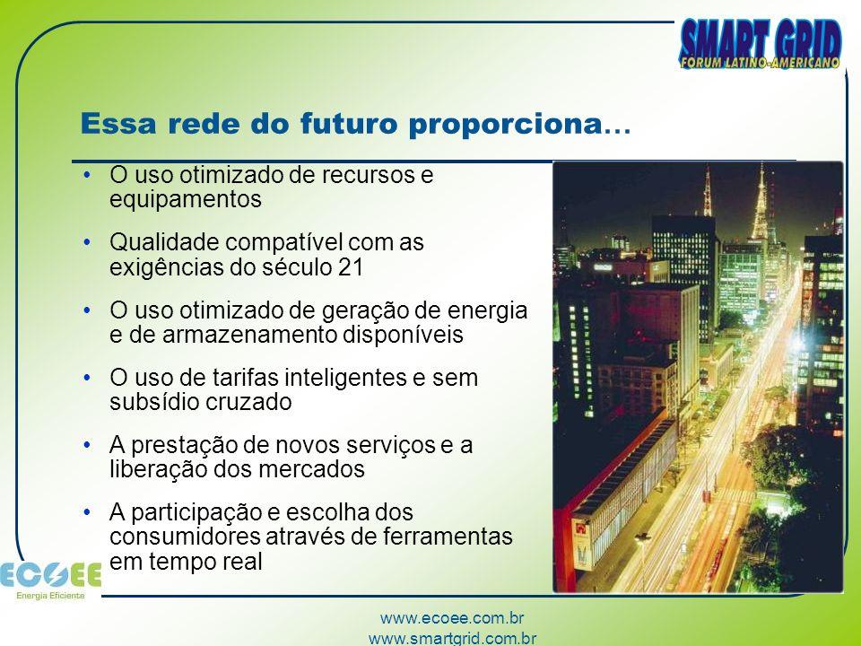 www.ecoee.com.br www.smartgrid.com.br Essa rede do futuro proporciona … O uso otimizado de recursos e equipamentos Qualidade compatível com as exigênc
