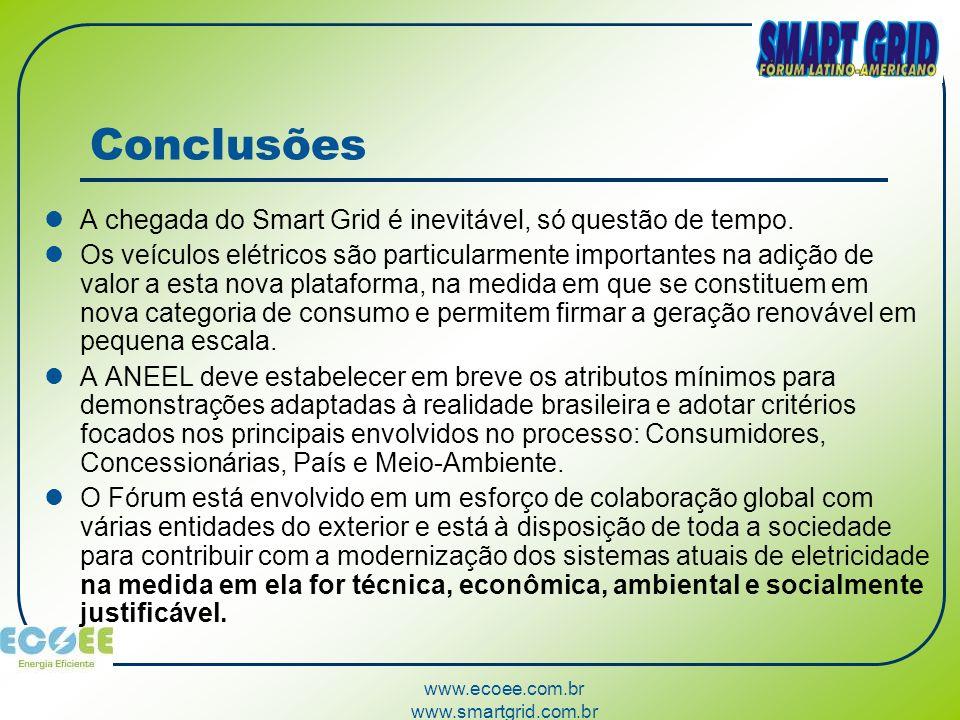 www.ecoee.com.br www.smartgrid.com.br Conclusões A chegada do Smart Grid é inevitável, só questão de tempo. Os veículos elétricos são particularmente