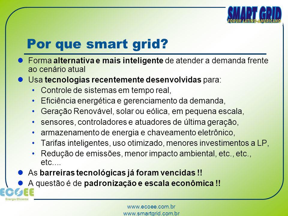 www.ecoee.com.br www.smartgrid.com.br Por que smart grid? Forma alternativa e mais inteligente de atender a demanda frente ao cenário atual Usa tecnol