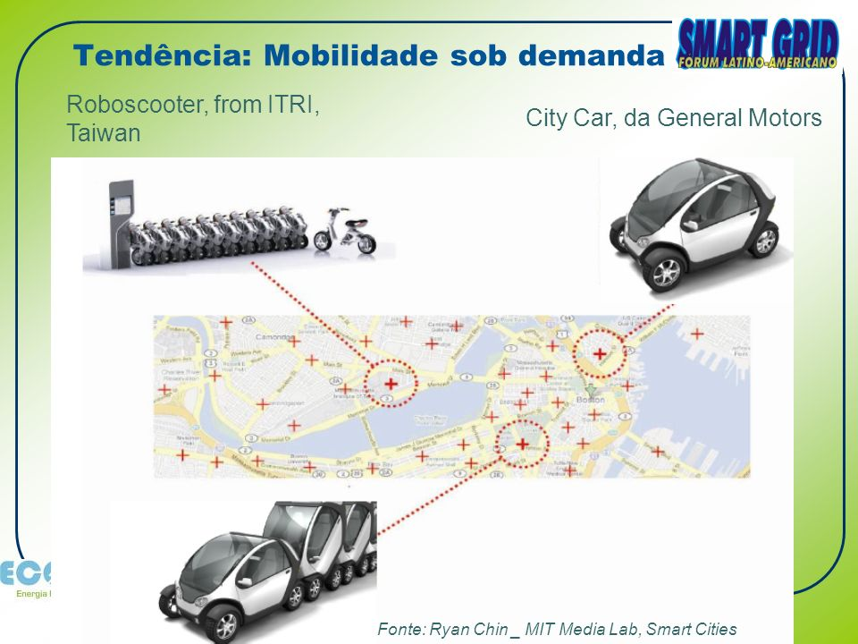 www.ecoee.com.br www.smartgrid.com.br Fonte: Ryan Chin _ MIT Media Lab, Smart Cities City Car, da General Motors Roboscooter, from ITRI, Taiwan Tendência: Mobilidade sob demanda