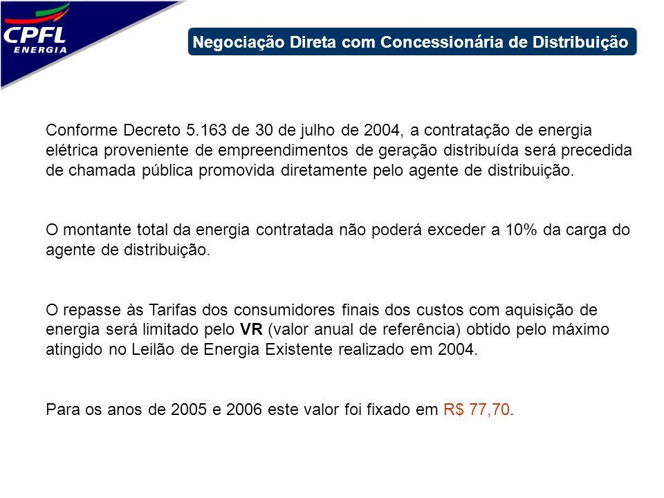 Conforme Decreto 5.163 de 30 de julho de 2004, a contratação de energia elétrica proveniente de empreendimentos de geração distribuída será precedida