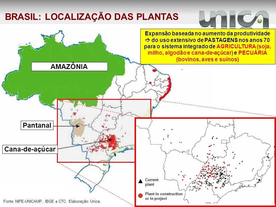 BRASIL: LOCALIZAÇÃO DAS PLANTAS Fonte: NIPE-UNICAMP, IBGE e CTC. Elaboração: Unica. Plant in construction or in project Current plant AMAZÔNIA Pantana