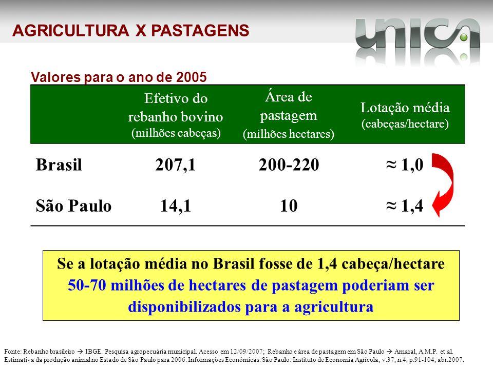 AGRICULTURA X PASTAGENS Se a lotação média no Brasil fosse de 1,4 cabeça/hectare 50-70 milhões de hectares de pastagem poderiam ser disponibilizados p