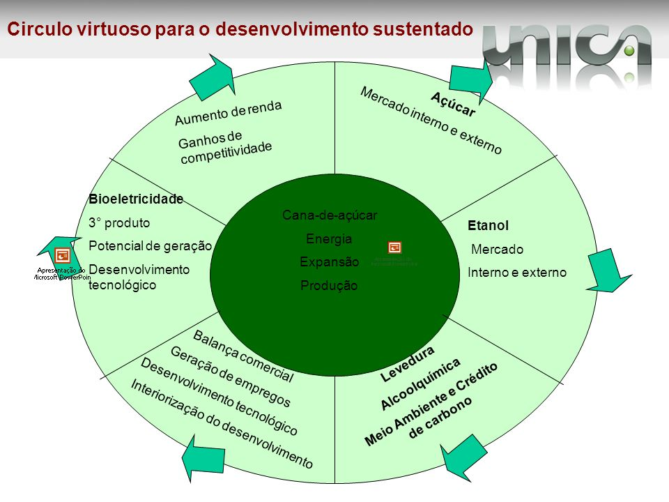 Cana-de-açúcar Energia Expansão Produção Circulo virtuoso para o desenvolvimento sustentado Bioeletricidade 3° produto Potencial de geração Desenvolvi