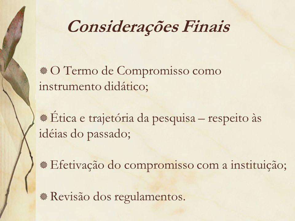 Considerações Finais O Termo de Compromisso como instrumento didático; Ética e trajetória da pesquisa – respeito às idéias do passado; Efetivação do c