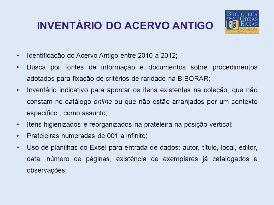 INVENTÁRIO DO ACERVO ANTIGO Identificação do Acervo Antigo entre 2010 a 2012; Busca por fontes de informação e documentos sobre procedimentos adotados