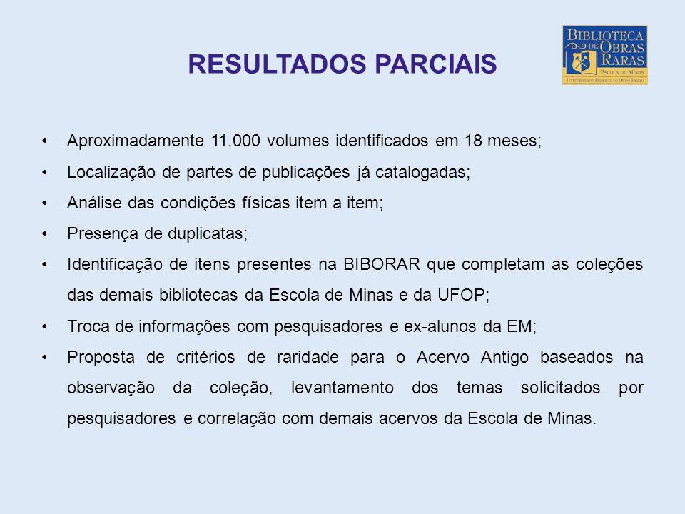 RESULTADOS PARCIAIS Aproximadamente 11.000 volumes identificados em 18 meses; Localização de partes de publicações já catalogadas; Análise das condiçõ