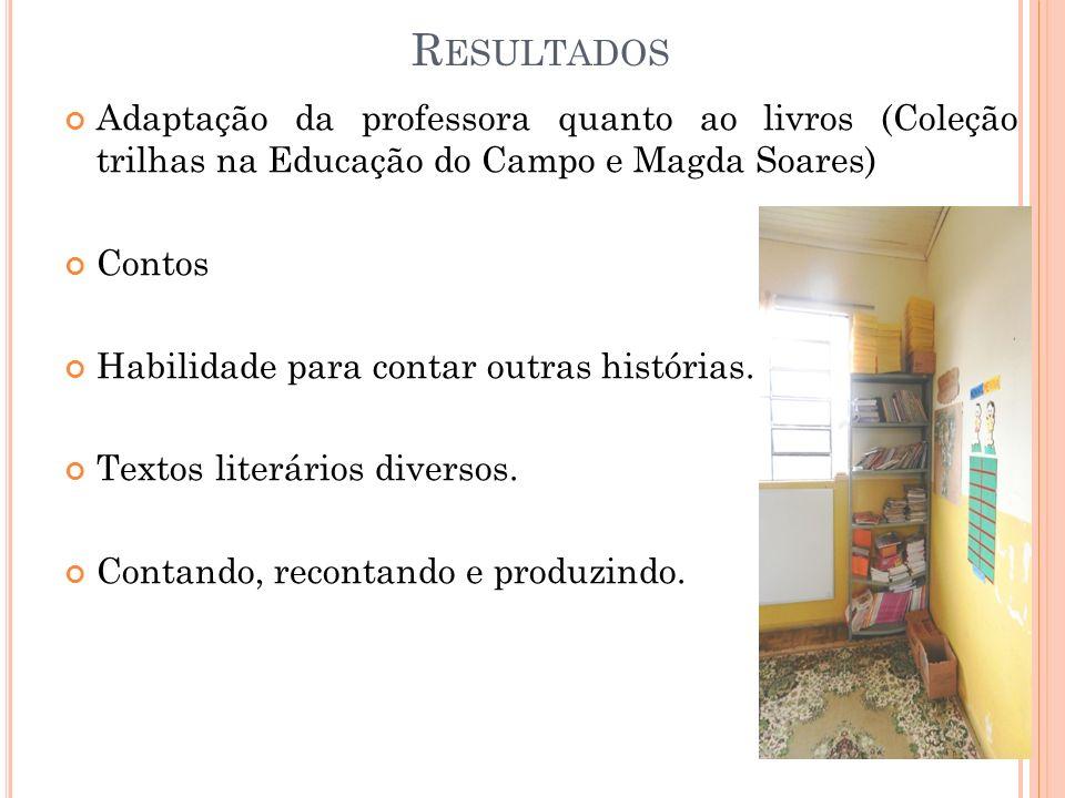 R ESULTADOS Adaptação da professora quanto ao livros (Coleção trilhas na Educação do Campo e Magda Soares) Contos Habilidade para contar outras histór