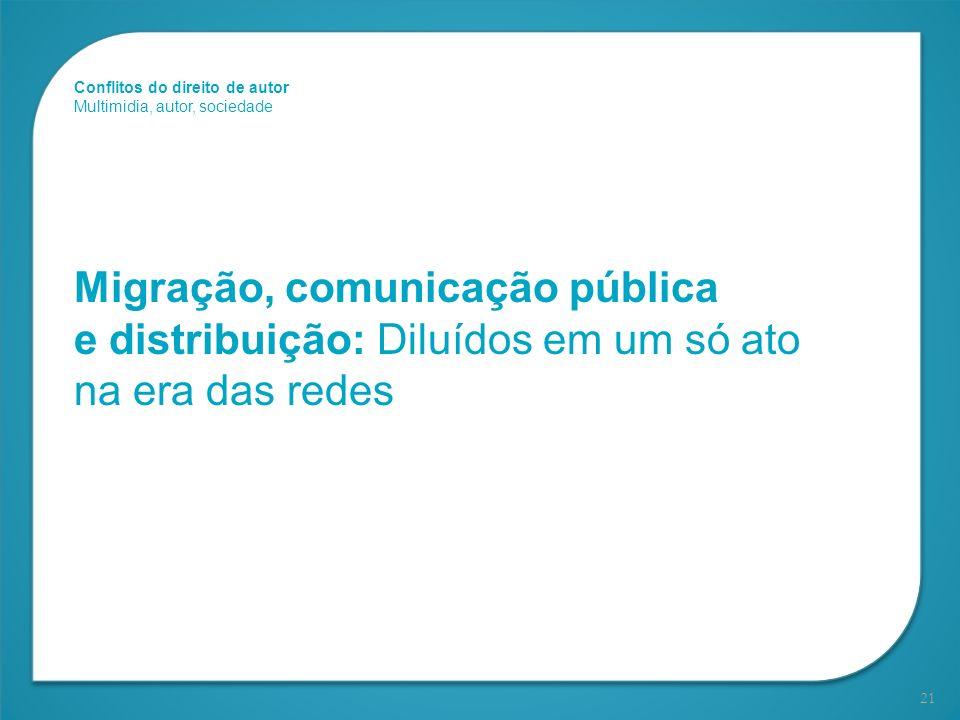 21 Migração, comunicação pública e distribuição: Diluídos em um só ato na era das redes Conflitos do direito de autor Multimidia, autor, sociedade