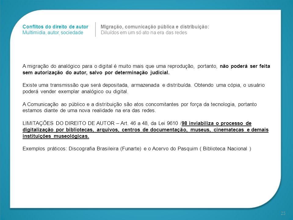 25 Migração, comunicação pública e distribuição: Diluídos em um só ato na era das redes Conflitos do direito de autor Multimidia, autor, sociedade A m