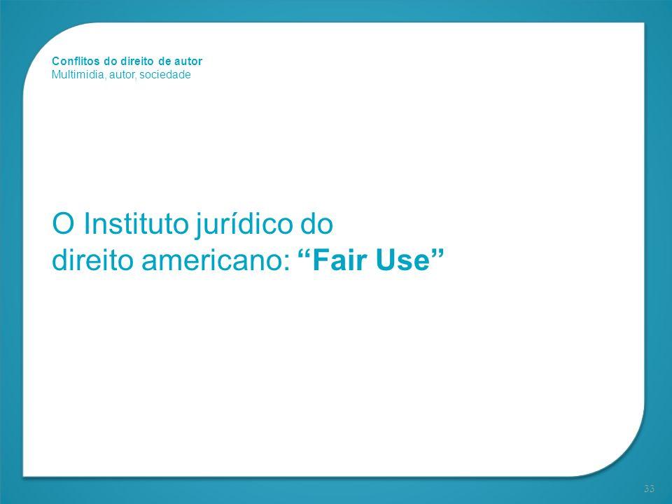 33 O Instituto jurídico do direito americano: Fair Use Conflitos do direito de autor Multimidia, autor, sociedade