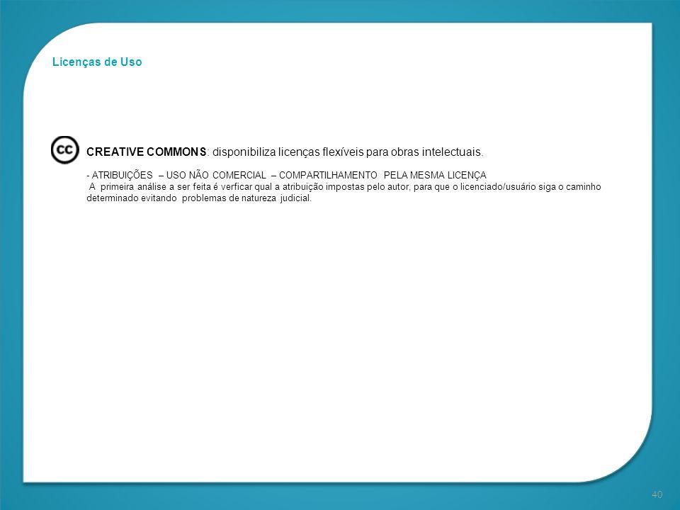 40 Licenças de Uso CREATIVE COMMONS: disponibiliza licenças flexíveis para obras intelectuais. - ATRIBUIÇÕES – USO NÃO COMERCIAL – COMPARTILHAMENTO PE