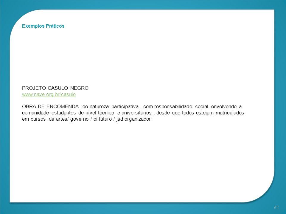 62 Exemplos Práticos PROJETO CASULO NEGRO www.nave.org.br/casulo OBRA DE ENCOMENDA de natureza participativa, com responsabilidade social envolvendo a