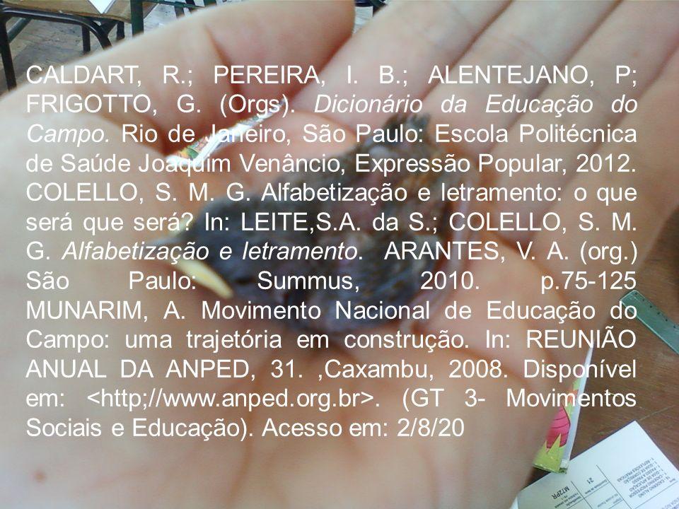 CALDART, R.; PEREIRA, I. B.; ALENTEJANO, P; FRIGOTTO, G. (Orgs). Dicionário da Educação do Campo. Rio de Janeiro, São Paulo: Escola Politécnica de Saú