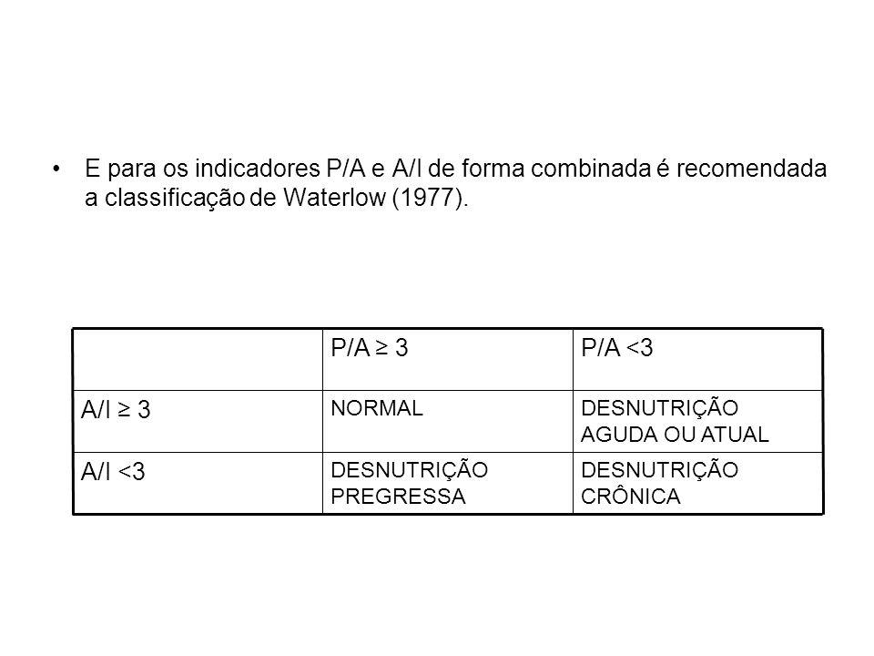 E para os indicadores P/A e A/I de forma combinada é recomendada a classificação de Waterlow (1977).