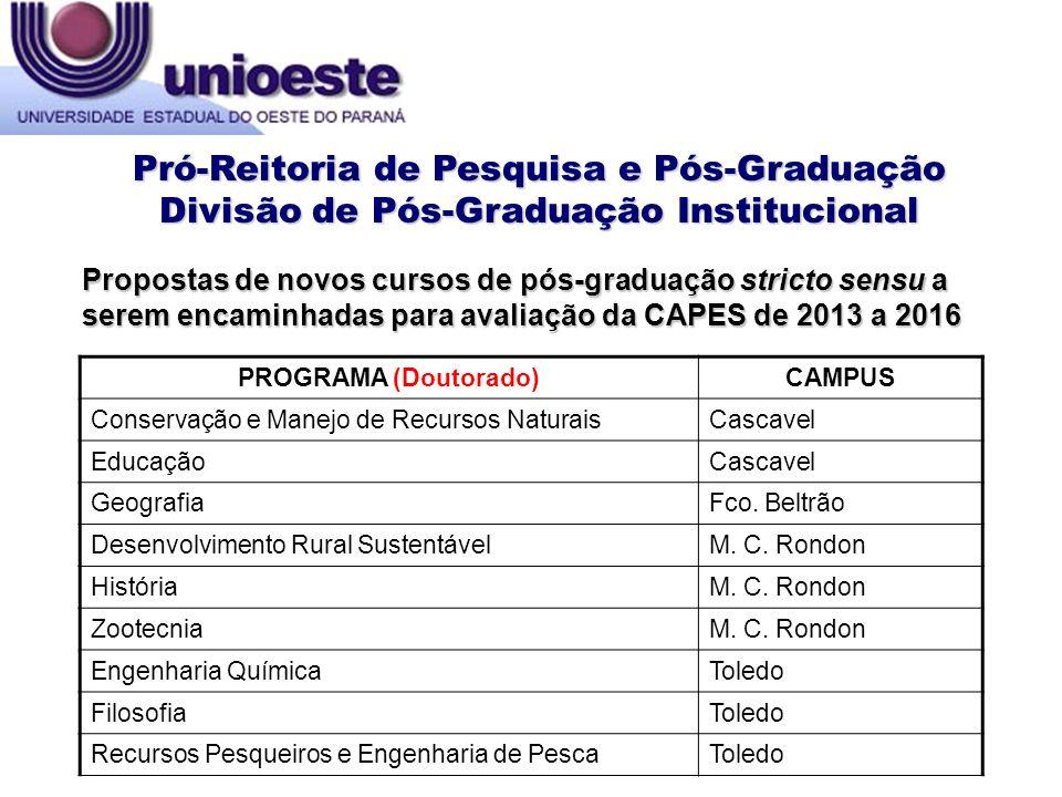 Propostas de novos cursos de pós-graduação stricto sensu a serem encaminhadas para avaliação da CAPES de 2013 a 2016 Pró-Reitoria de Pesquisa e Pós-Gr