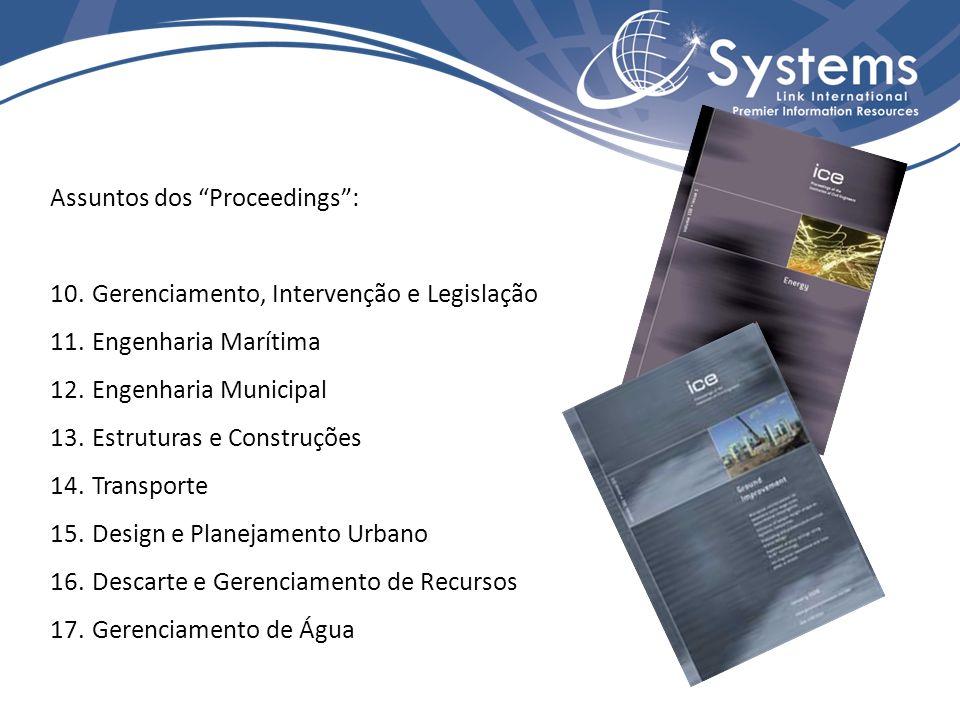 Assuntos dos Proceedings: 10. Gerenciamento, Intervenção e Legislação 11.