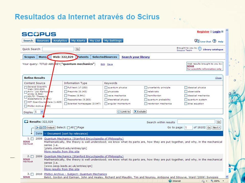 Resultados da Internet através do Scirus